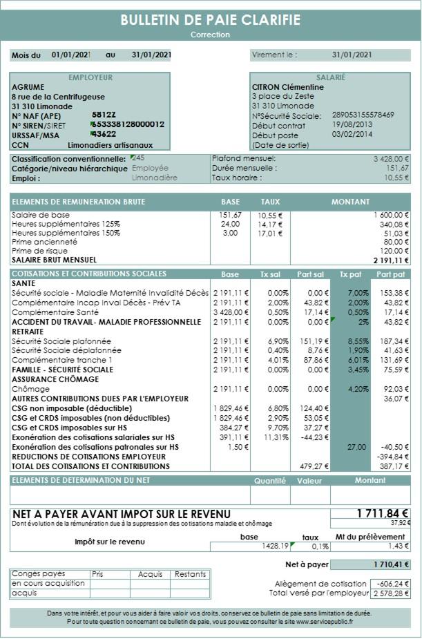 Bulletin de paie corrigé HS
