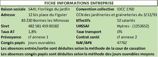 Informations sur l'entreprise pour pouvoir réaliser le bulletin de paie clarifié